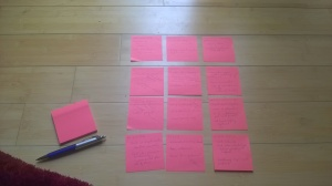 Planning my first draft using post-it notes stuck to my floor!